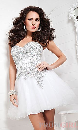 Strapless Sweetheart Sequin Babydoll Dress at PromGirl.com | Semi ...
