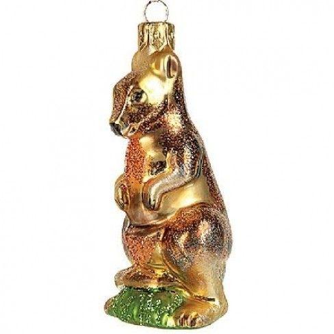 Wildlife Kangaroo Polish Glass Christmas Ornament | Glass ...