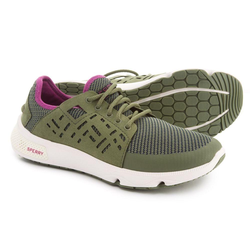 7916f273ceee7 Sperry Women Sneakers 7 Seas Sport Boat Shoes Olive/Pink 9.5 #Sperry ...