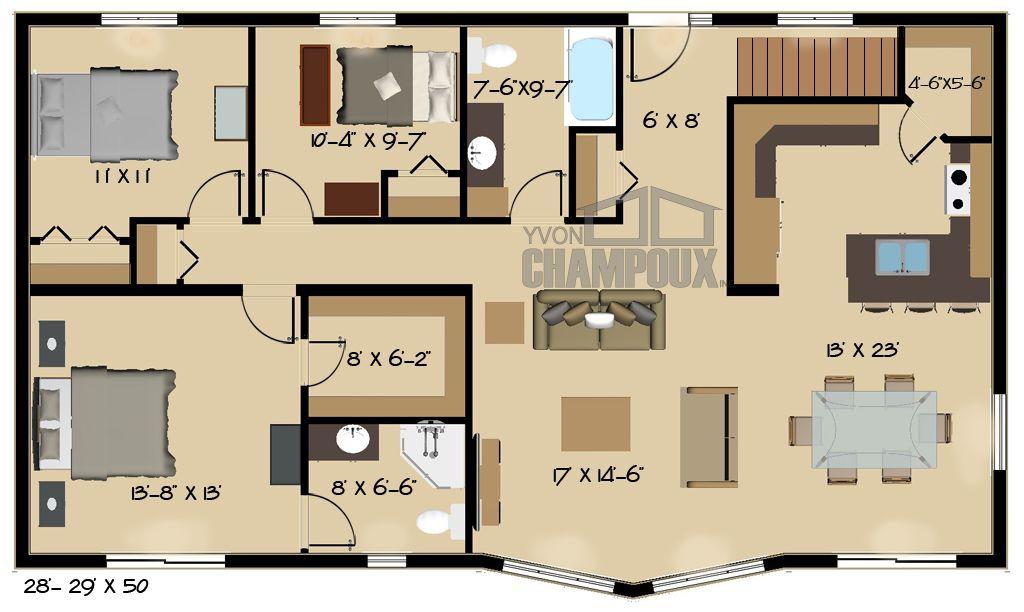 Plan de maison deux étages - modèle Kipawa -2 Maisons Champoux