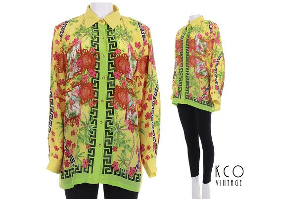 ccb718b0acaed4 90s vintage Versace style silk shirt. • Very thin