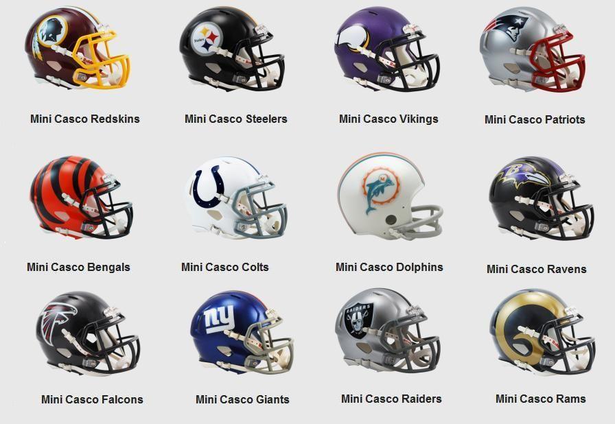 Mino cascos de fútbol americano NFL.  1254c9fd748