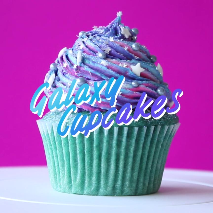 Galaxy Cupcakes Video Recipe Video Desserts Yummy Food Galaxy Cupcakes
