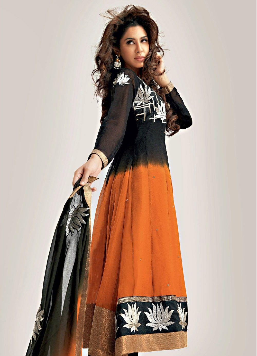 Orange And Black Color Georgette Salwar Suit >> http://www.gravity-fashion.com/11242-orange-and-black-color-georgette-salwar-suit.html