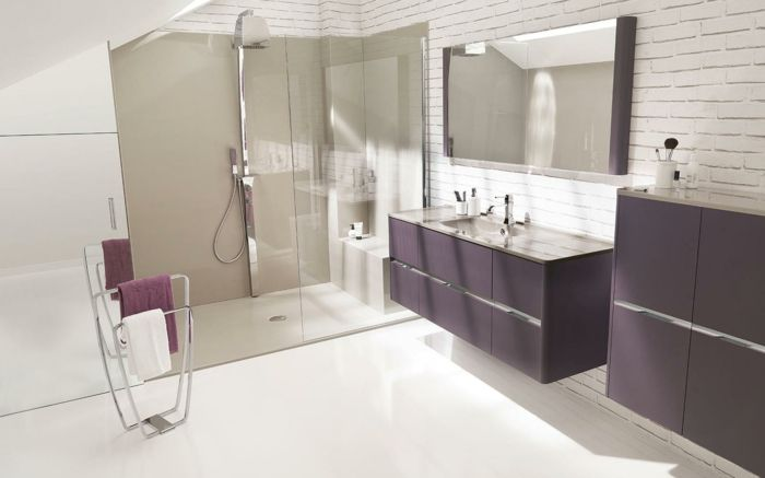 wandschrank f�r badezimmer lila glas duschkabine | salle de bain