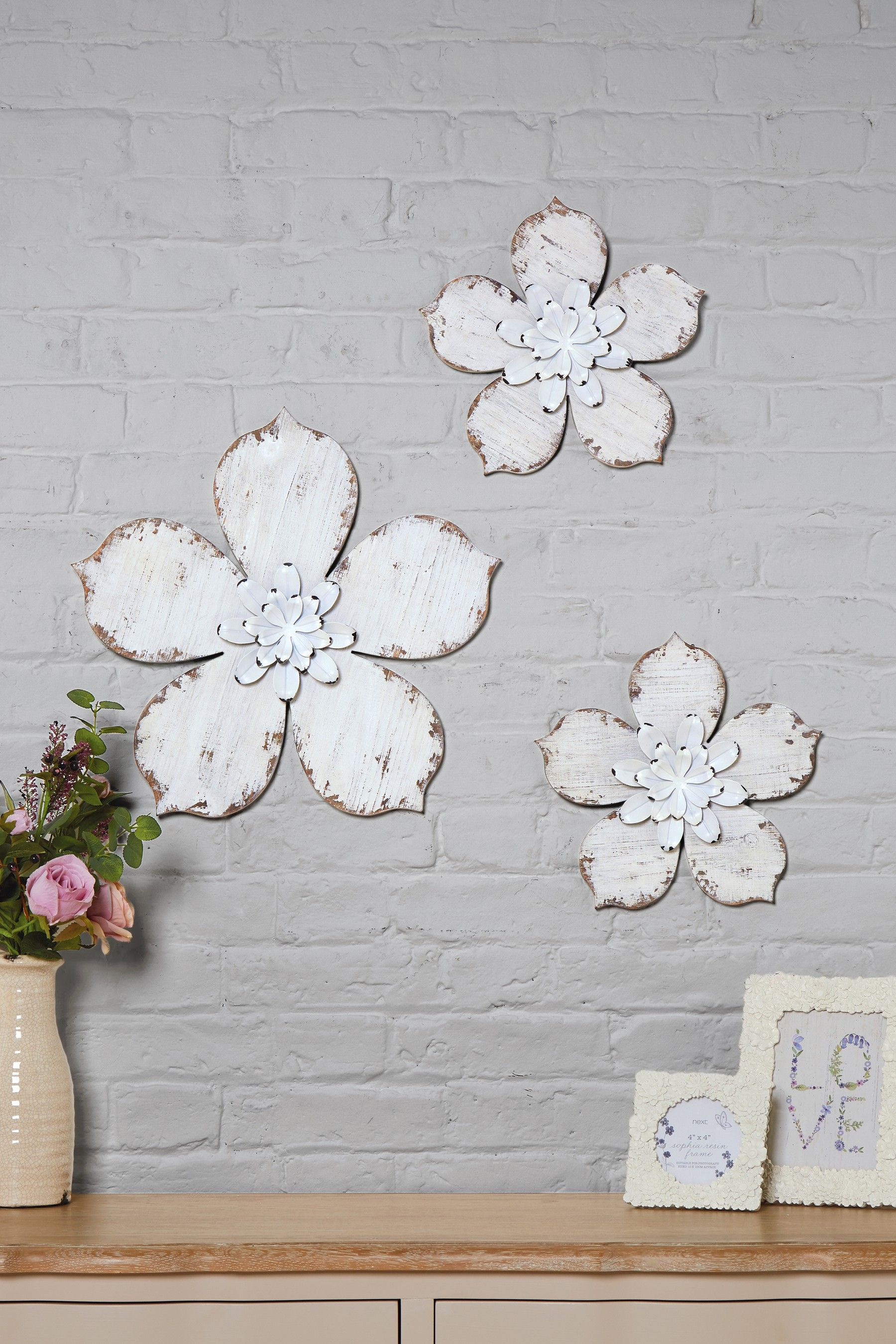 Buy Set Of 3 Wooden Flower Plaques From The Next Uk Online Shop Wooden Flowers Wall Plaques Wooden