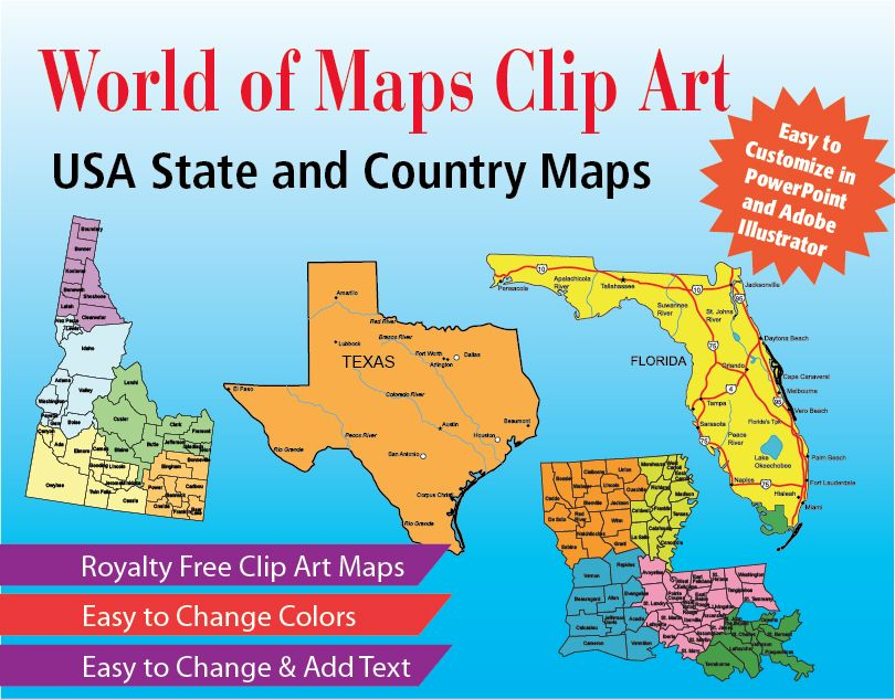 All 50 USA state maps, US Country maps, editable, royalty free clip ...