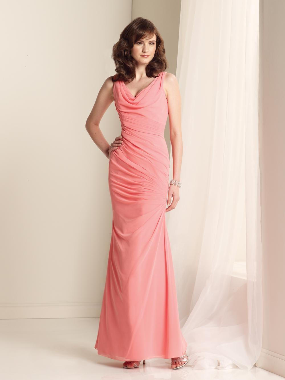 Elegant-Chiffon-Coral-Bridesmaid-Dresses-Floor-Length-Sheath ... e1cee9d5a1a7