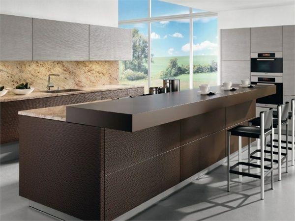 große Küche planen Holz Theke Bar Hocker Küche
