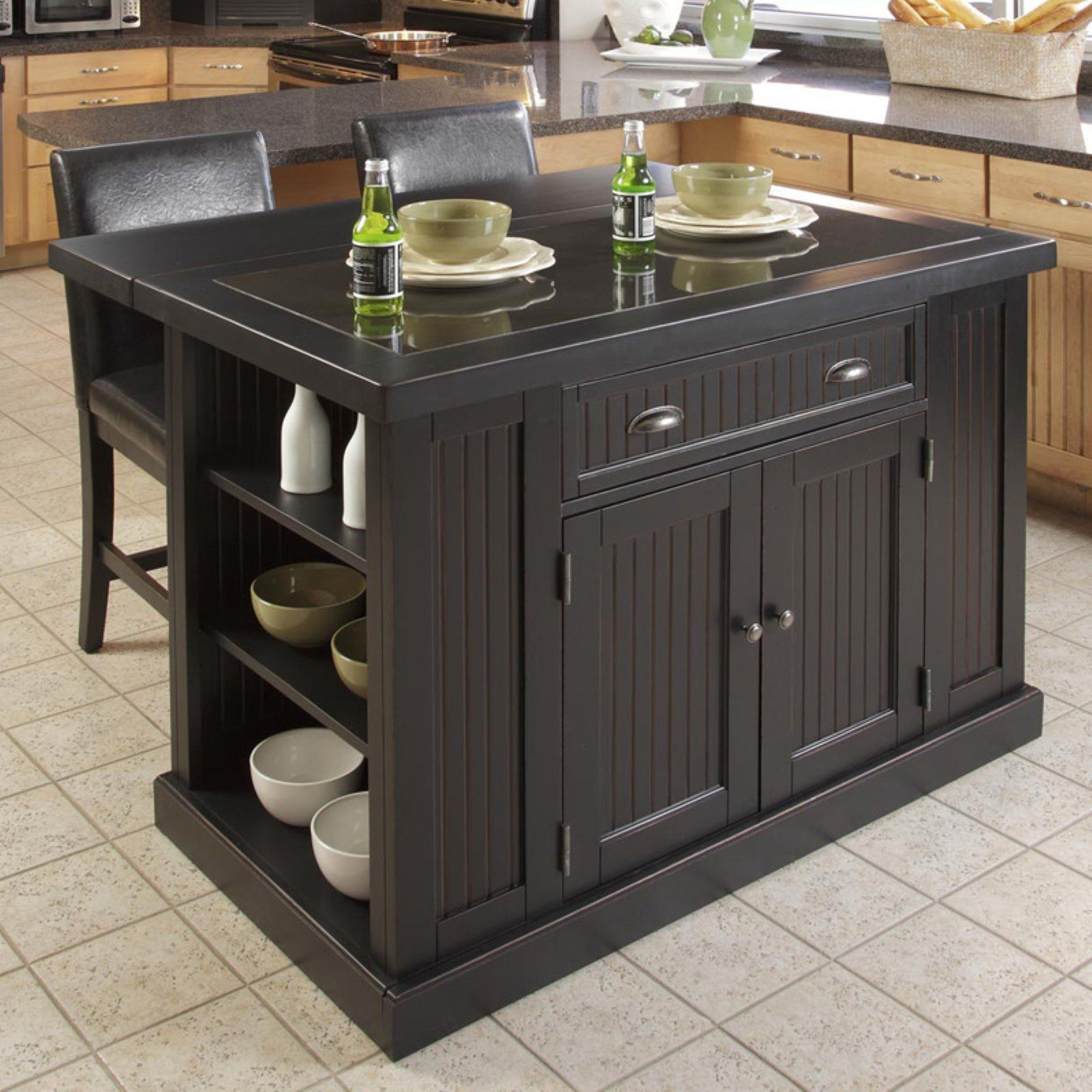 Home Styles Nantucket Kitchen Island Black Black