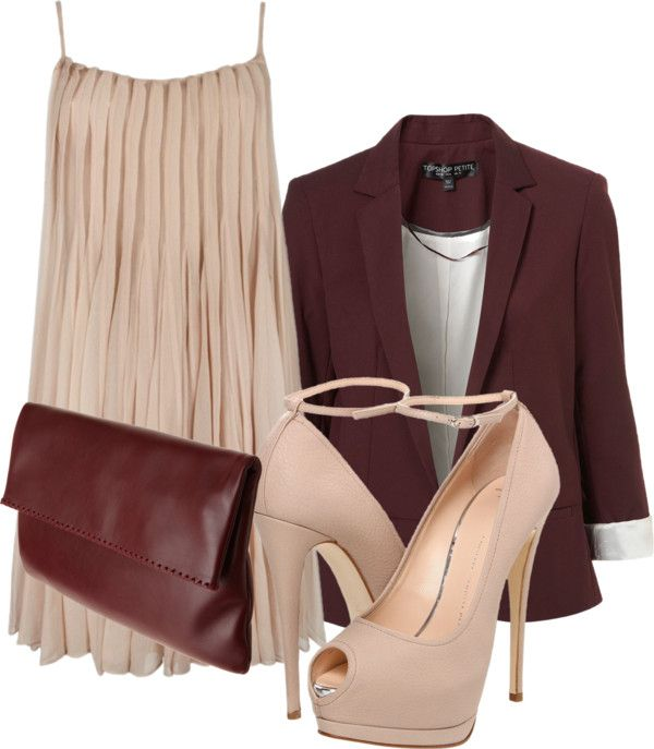 """""""Tan & Maroon"""" by rprov on Polyvore"""