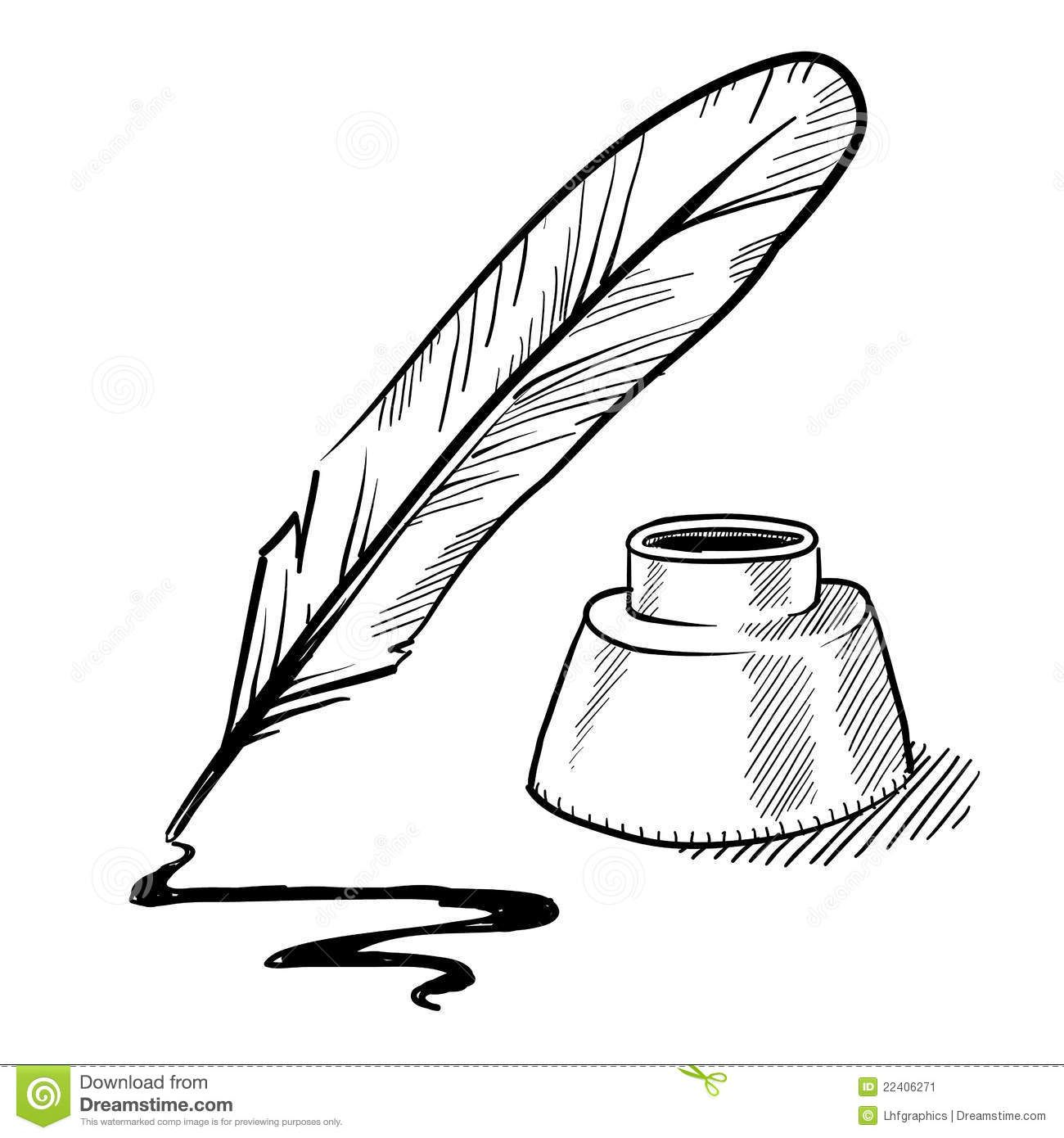 Images For Gt Feather Pen And Scroll Clip Art