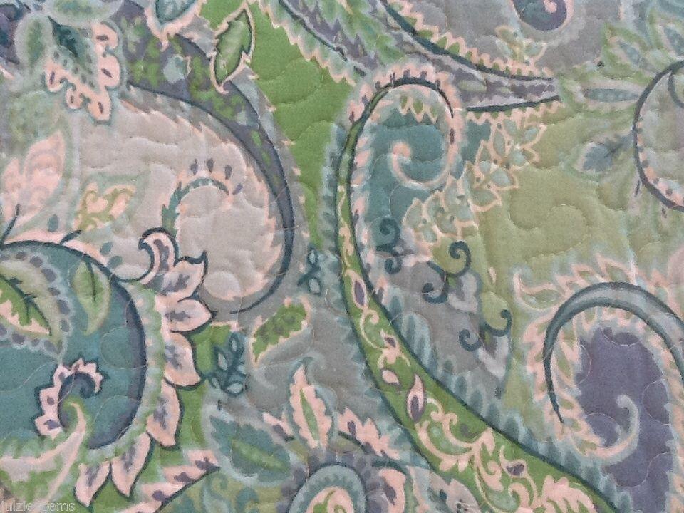 CYNTHIA ROWLEY TROPICAL PAISLEY KING QUILT 4pc SET TEAL BLUE GREEN ... : paisley king quilt - Adamdwight.com