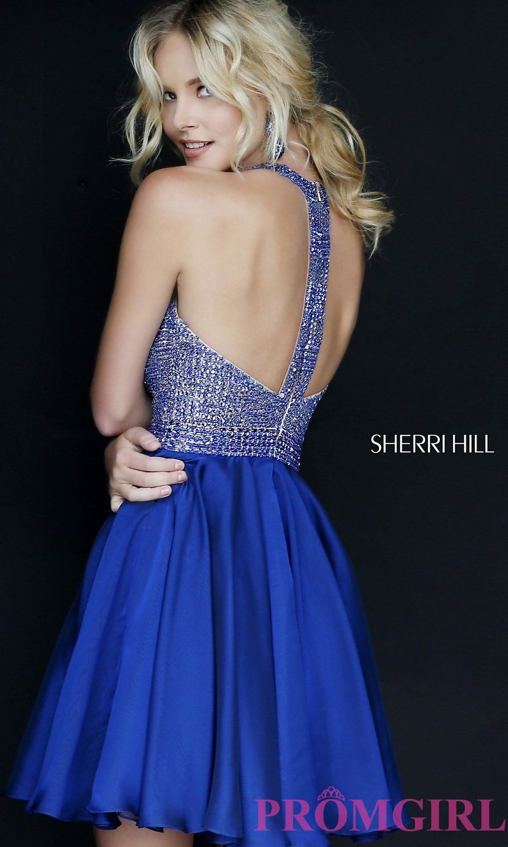 Sherri Hill Short Halter Dress with Jeweled Bodice