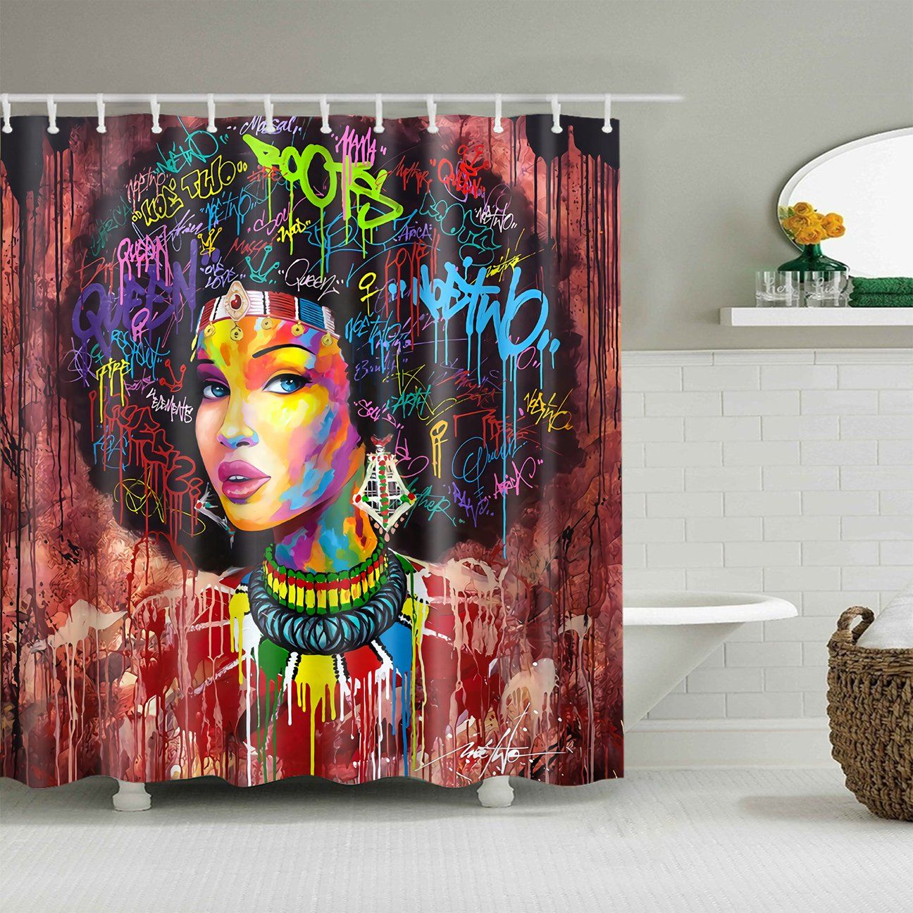Crescent Art Black Afro Girl Colorful Quote Hairstlye Shower Curtain Bathroom Decor Afro Girl Color Quotes Curtains
