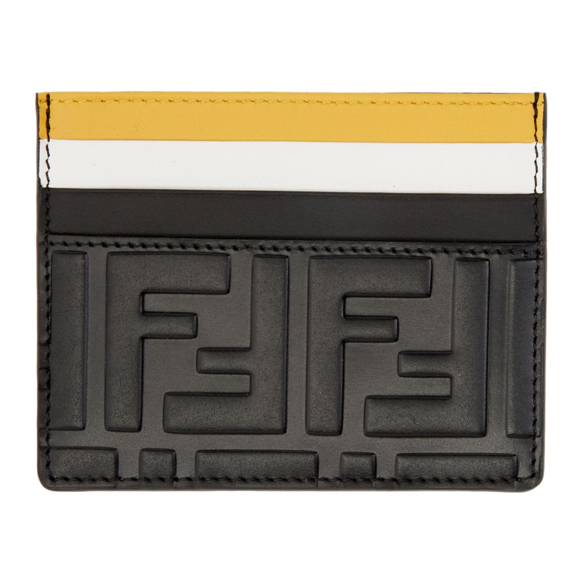 Fendi black colorblock forever fendi card holder