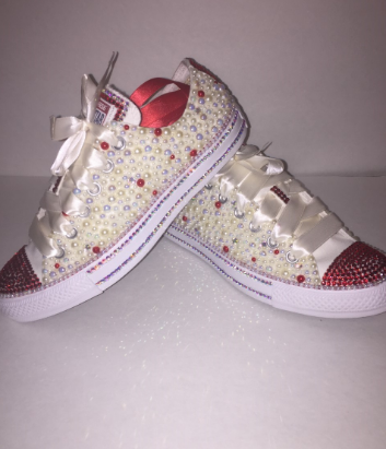 cd7608ebde WOMEN'S Tan Red Rose Bedazzle Bling Converse All Star Chuck Taylor ...