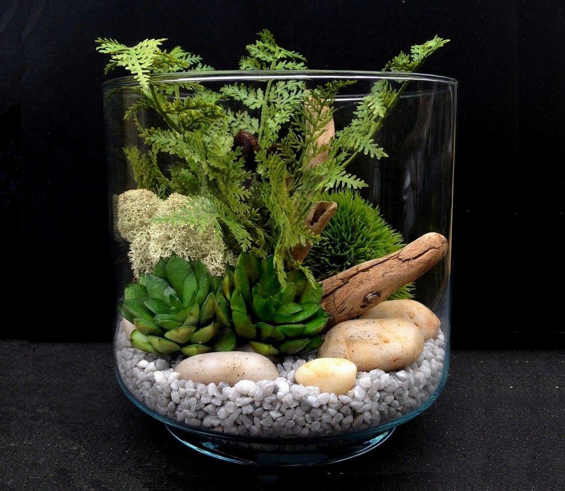 terrarium plantes grasses artificielles hermione h14 5. Black Bedroom Furniture Sets. Home Design Ideas