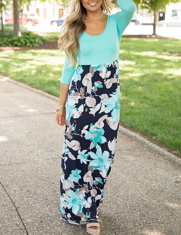 Womenus maxi dress floral printed autumn sleeve casual tunic