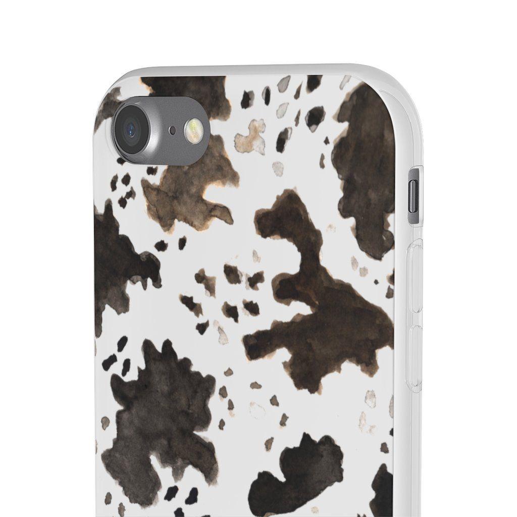 Cow print phone case slim flexible wireless charging