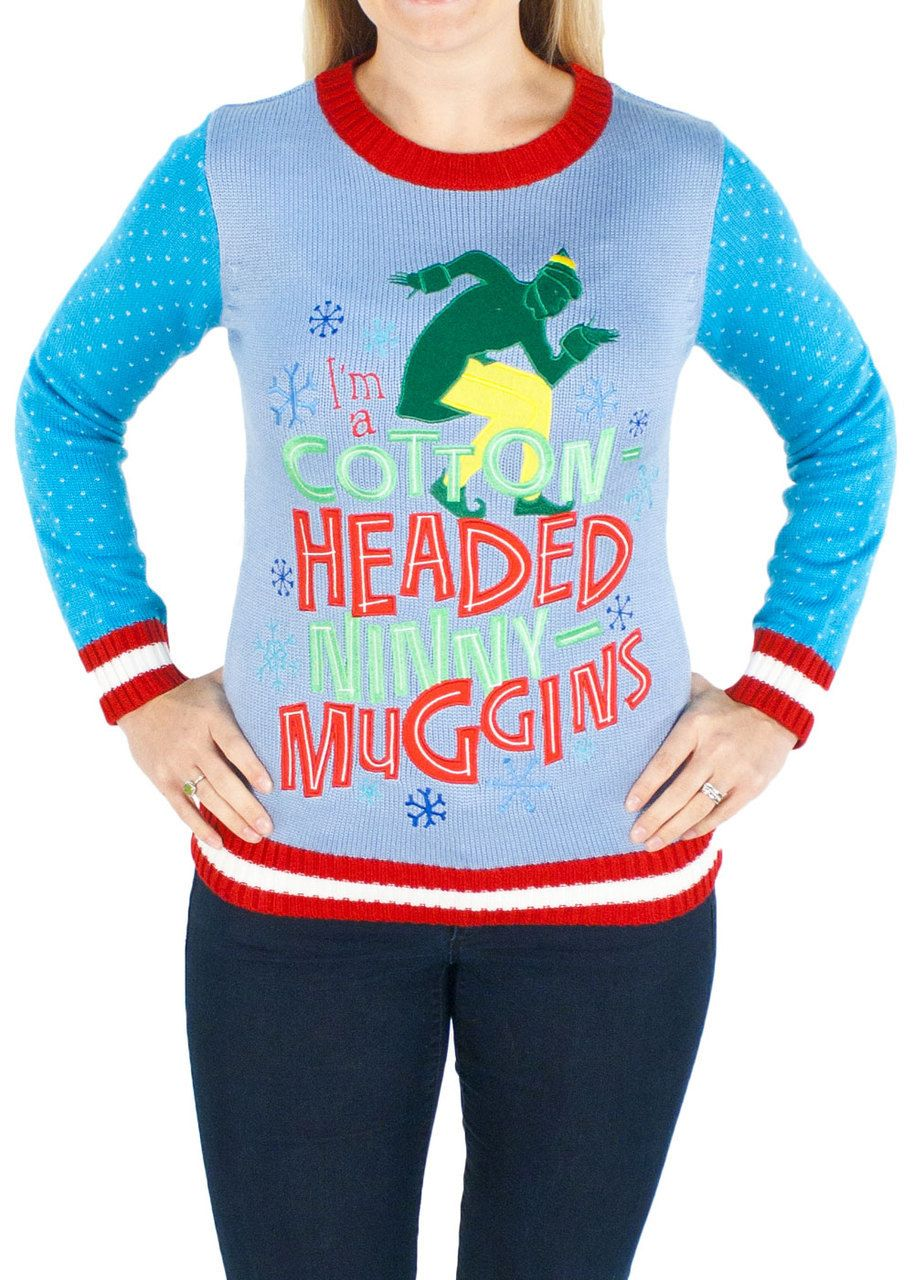 Women's Elf the Movie Cotton Headed Ninny Muggins Sweater in Blue ...