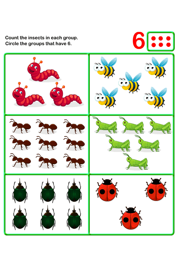 Count Six k Kids Learning Games and Worksheets – Kindergarten Online Worksheets