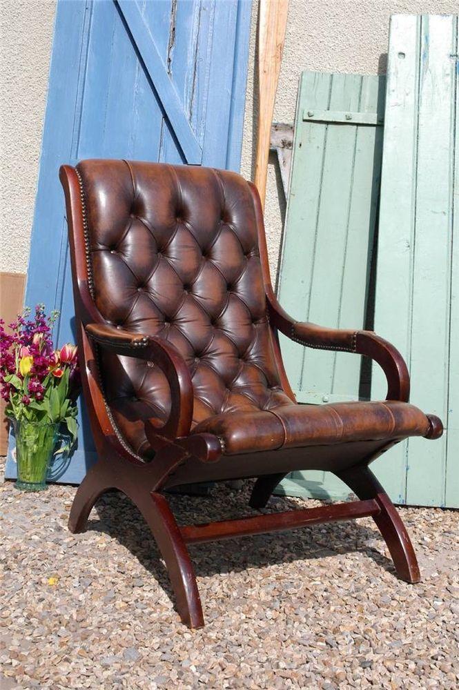 Excellent Vintage Brown Leather Chesterfield Armchair Slipper Club Creativecarmelina Interior Chair Design Creativecarmelinacom