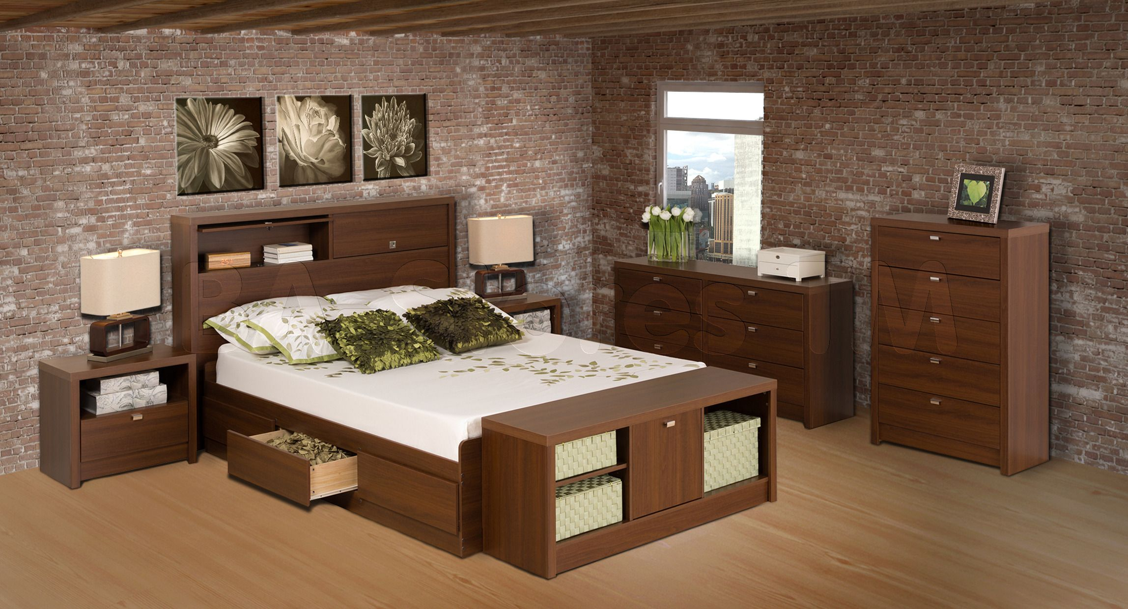 Bedroom Design Software Prepac Medium Brown Walnut Series 9 Designer Bedroom Set  Decor