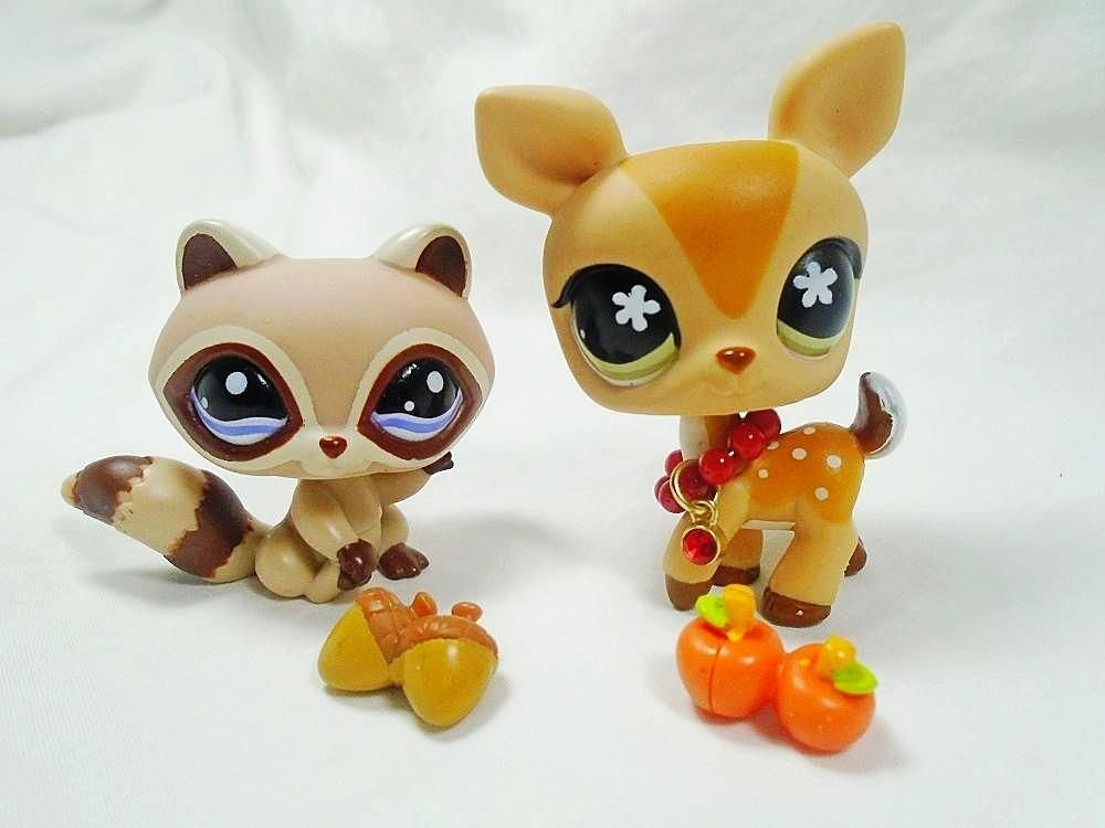 Littlest Pet Shop Lot Of 2 Pets Deer 634 And Raccoon 1348 With
