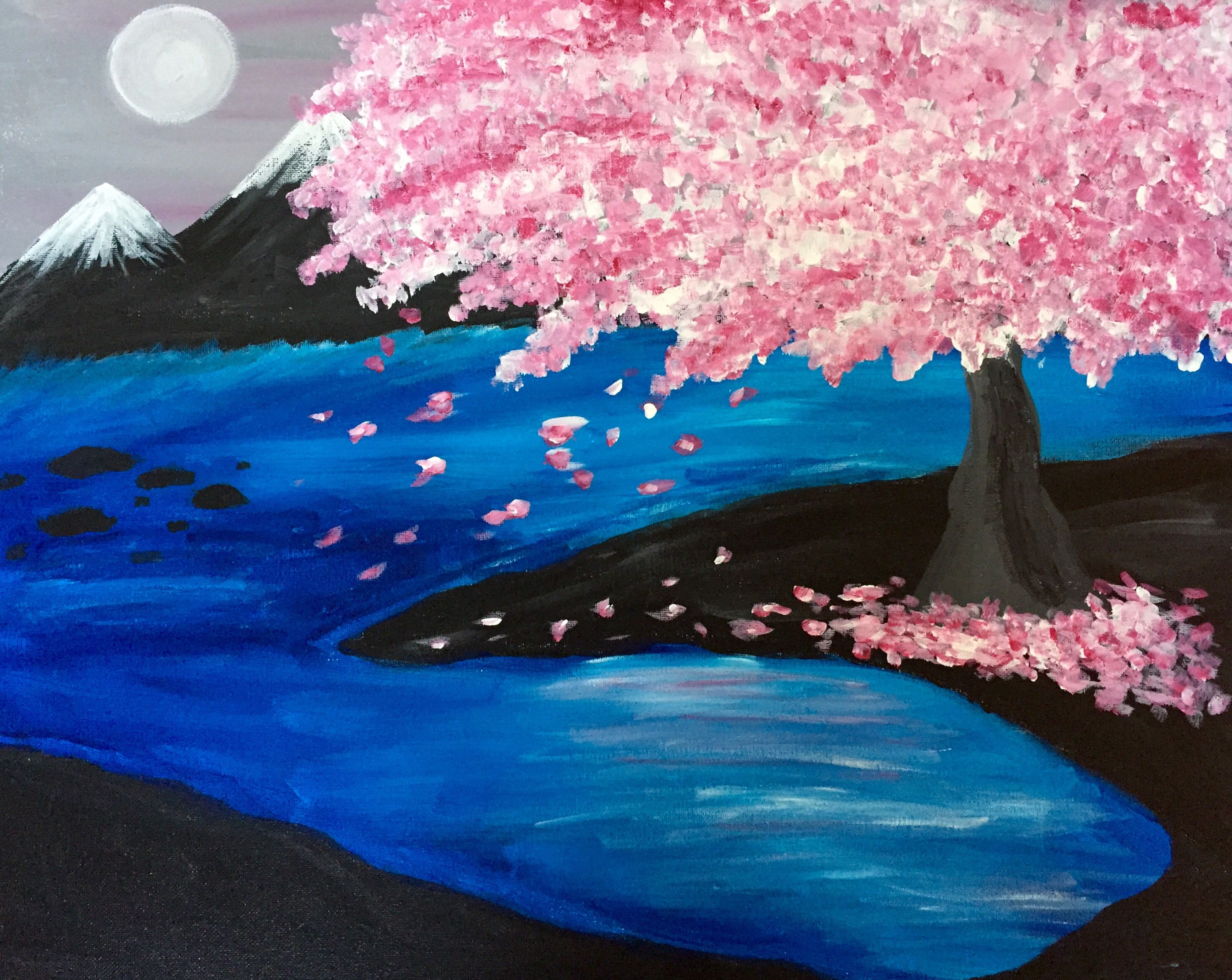 Moon River Cherry Blossoms At Output Lounge Spring Painting Painting Painting Inspiration