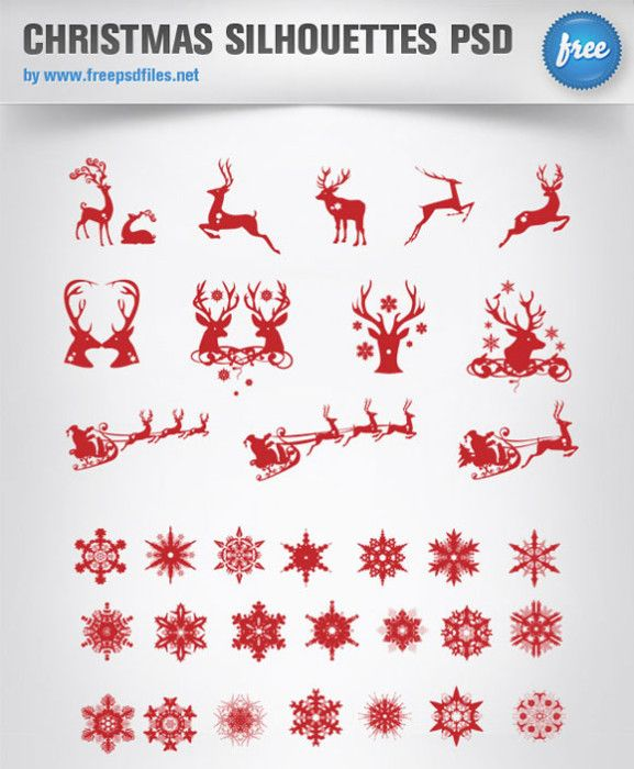 Christmas Icons Silhouette Psd Template For Holiday Powerpoint