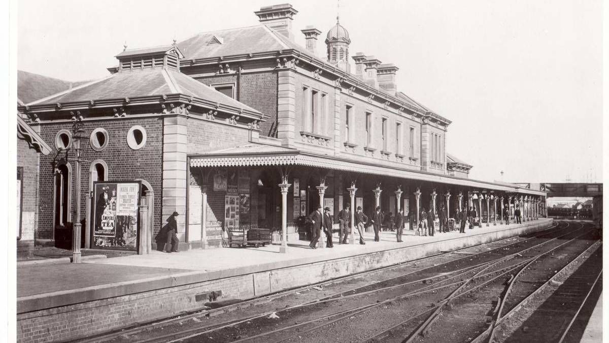 Newcastle Railway Station circa 1890. NSW Australia