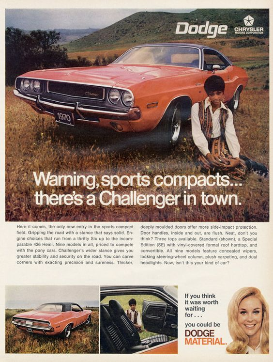 1970 Dodge Challenger Vintage Advertisements Automobile Advertising Muscle Cars