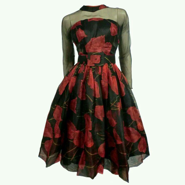 1950s saks fifth avenue evening dresses vintage floral