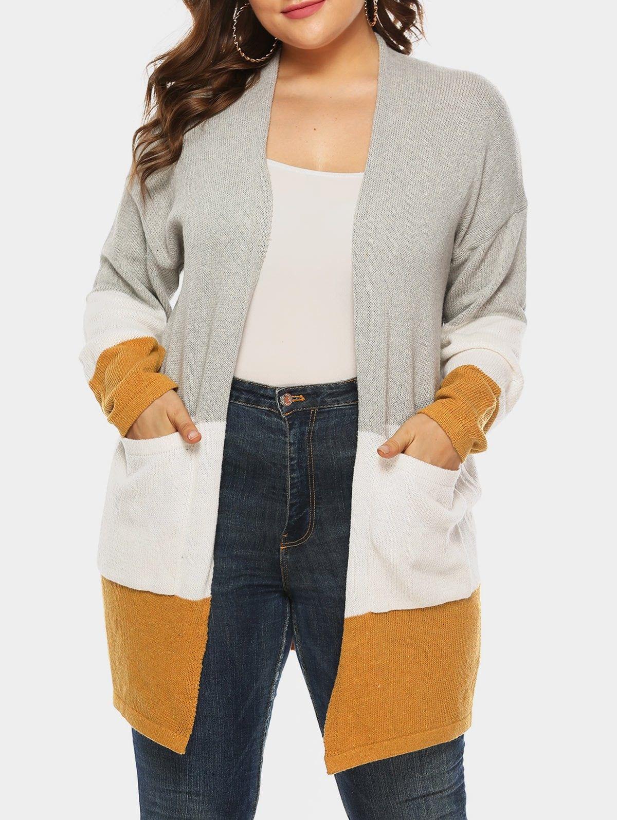 Plus Size Colorblock Longline Cardigan 1