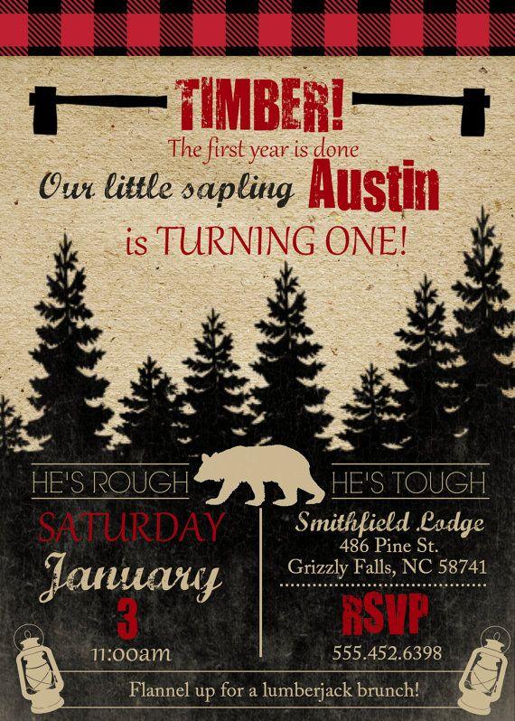 Lumberjack Theme Birthday Party Invite, Boys Birthday Invite ...
