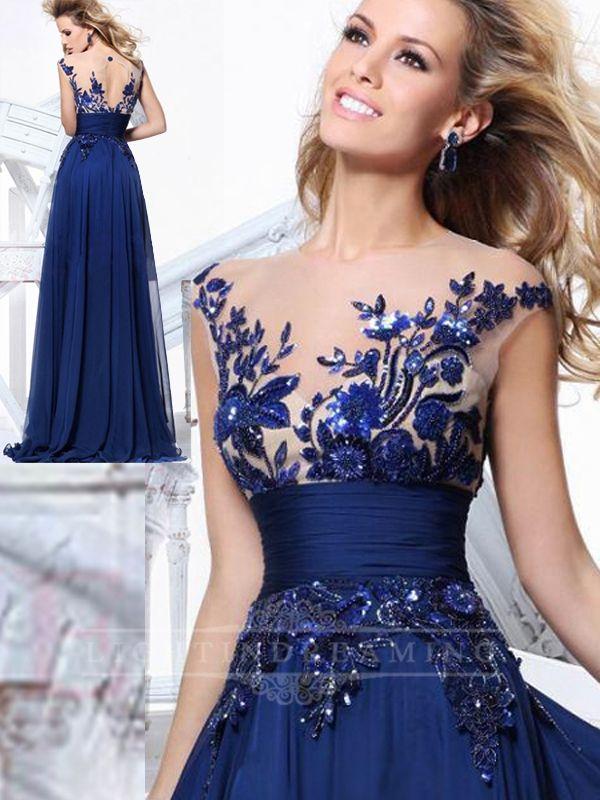 Sheer Neckline Long Prom Dress 150525tb08