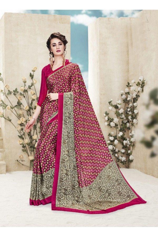 Casual Wear Multi Colour Printed Saree  - 19886