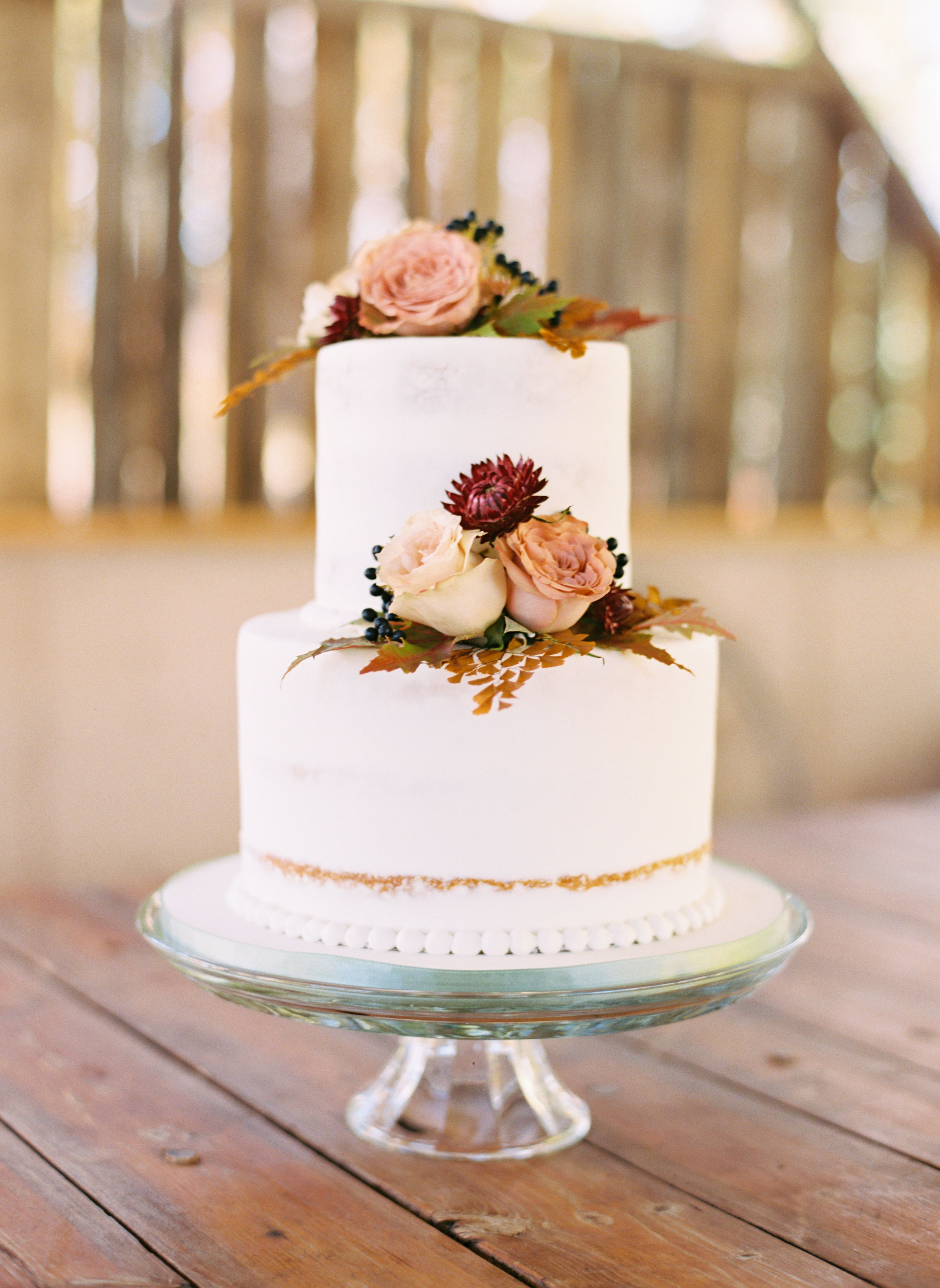 Simple Fall Two Tier Wedding Cake Autumnal Inspired With Fresh