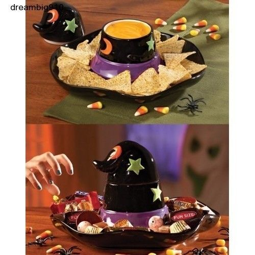 Chip and Dip Set Candy Dish Halloween Witches Hat Ceramic Treats for
