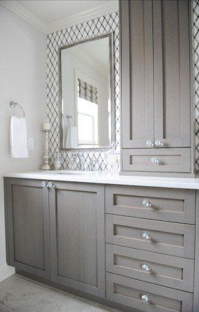 Gentil Bathroom With Lattice Tile, Gray Vanity, Crystal Knobs, White Counters,  Chrome Fixtures, Built In Storage Tower