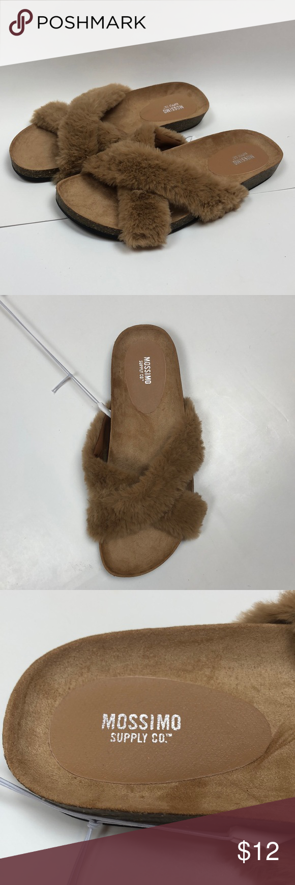 e2daae36f7b2d8 Mossimo Bella Cross Band Faux Fur Slide Sandals Mossimo Supply Co. Bella  Cross Band Faux Fur Footbed Slide Sandals Tan New with tags Pictures above  is a ...