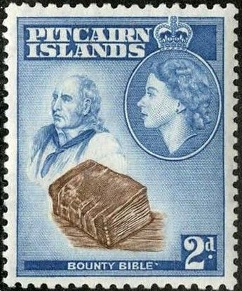 """Stamp: John Adams and """"Bounty"""" Bible (Pitcairn Islands) (Queen Elizabeth II  Issues (1957-63)) Mi:PN 22,Sn:PN 22,Sg:… 