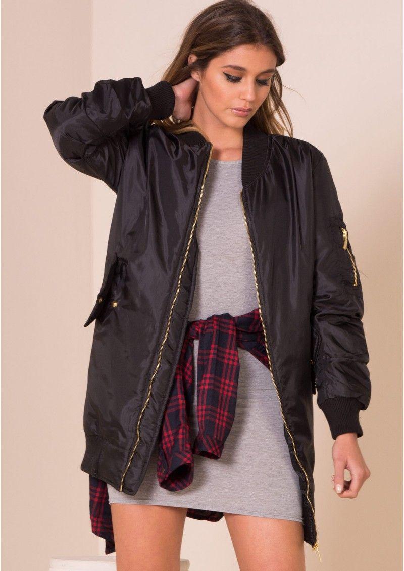 Longline bomber jacket burgundy dress