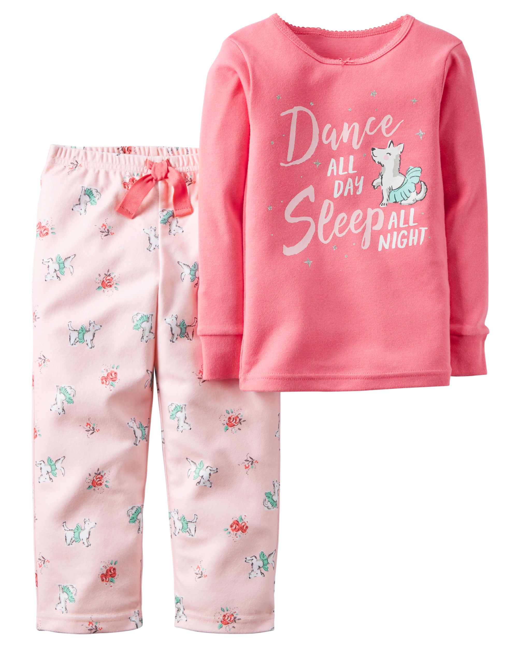 9e9c9ed69dc7 Baby Girl 2-Piece Cotton   Fleece PJs