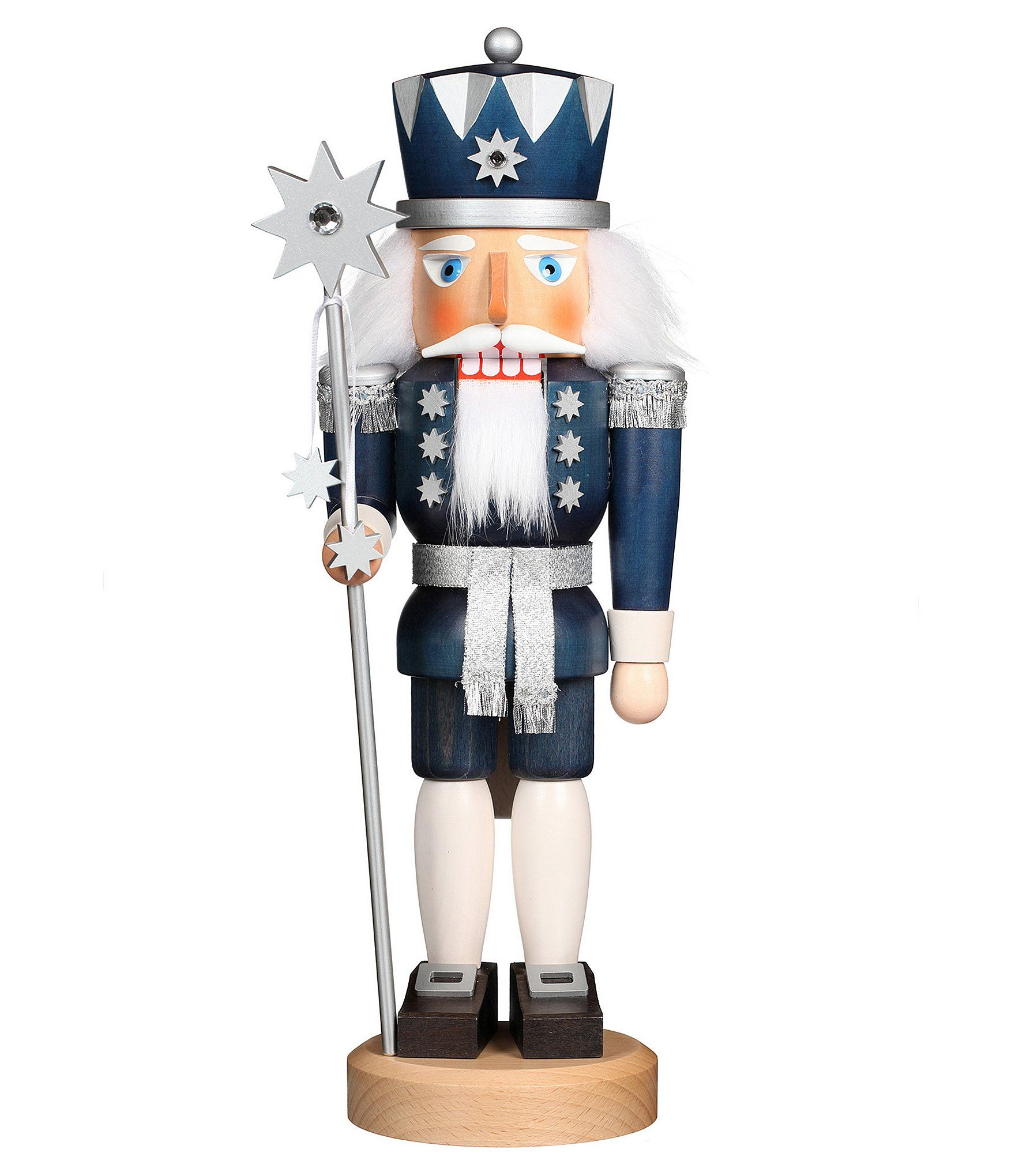 From Christian Ulbricht, this nutcracker features:Hand-painted wood finish so no two are exactly alikeKing of stars nutcracker wearing a night blue jacket studded with silver stars and a sparking belt100% authentic German Erzgebirge handcraftApprox.15.2