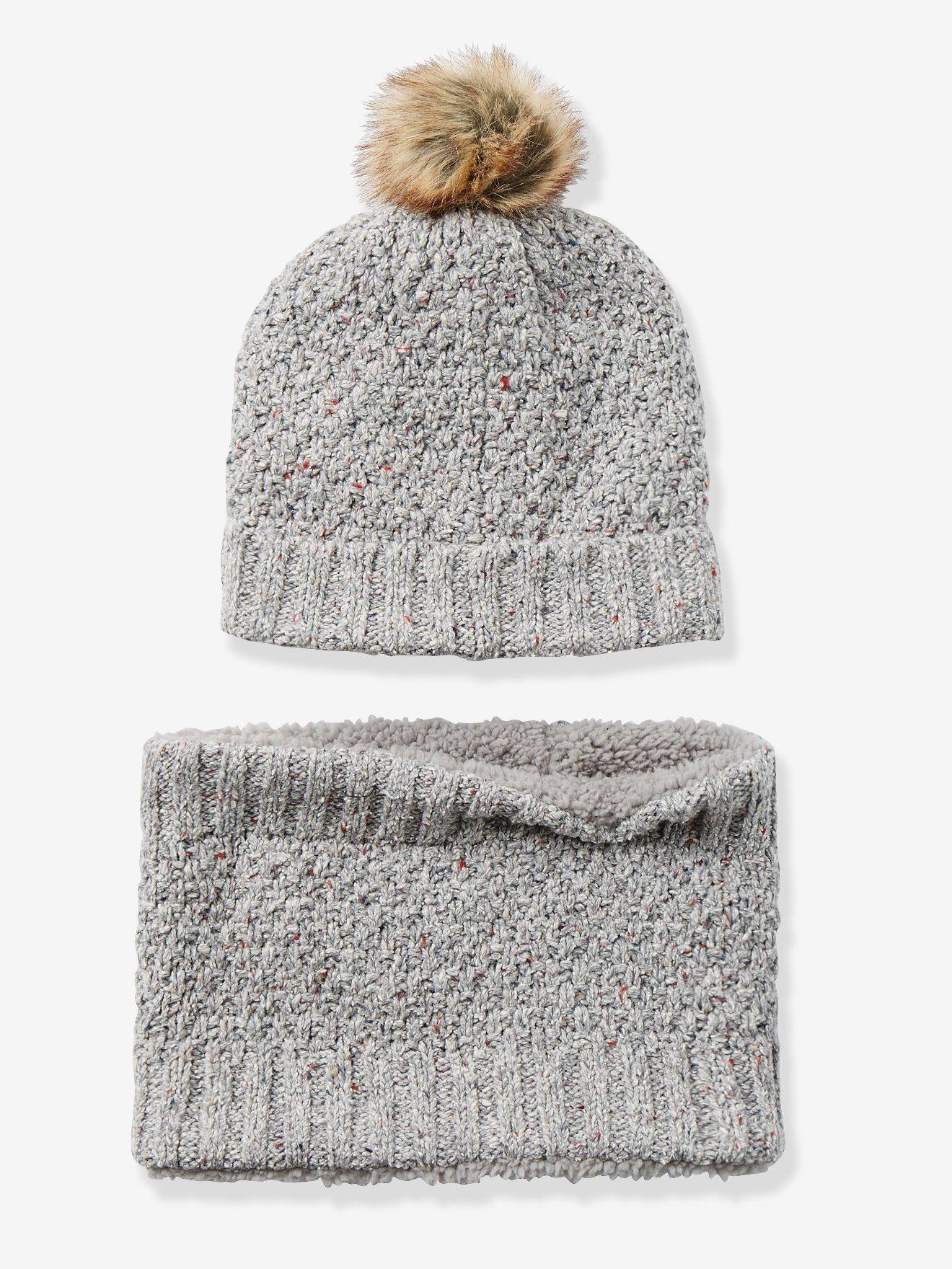 Ensemble bonnet + snood fille gris clair chiné - Un snood + un bonnet bien  chauds af7d139de80