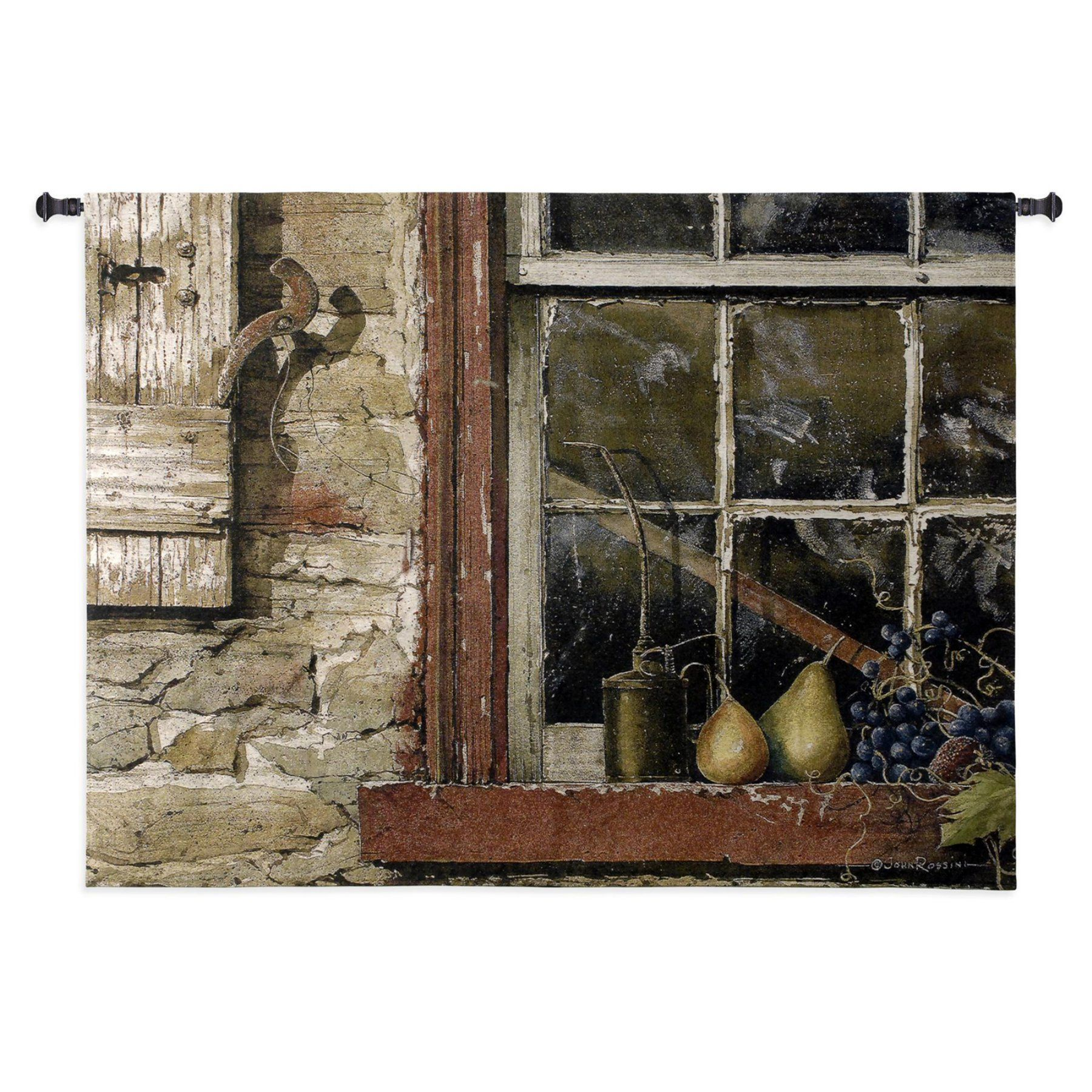 Fine Art Tapestries Fruit On Window Sill Wall Tapestry - 3209-WH