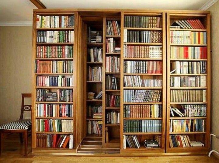 Sliding bookshelf Large bookcase, Bookcase door