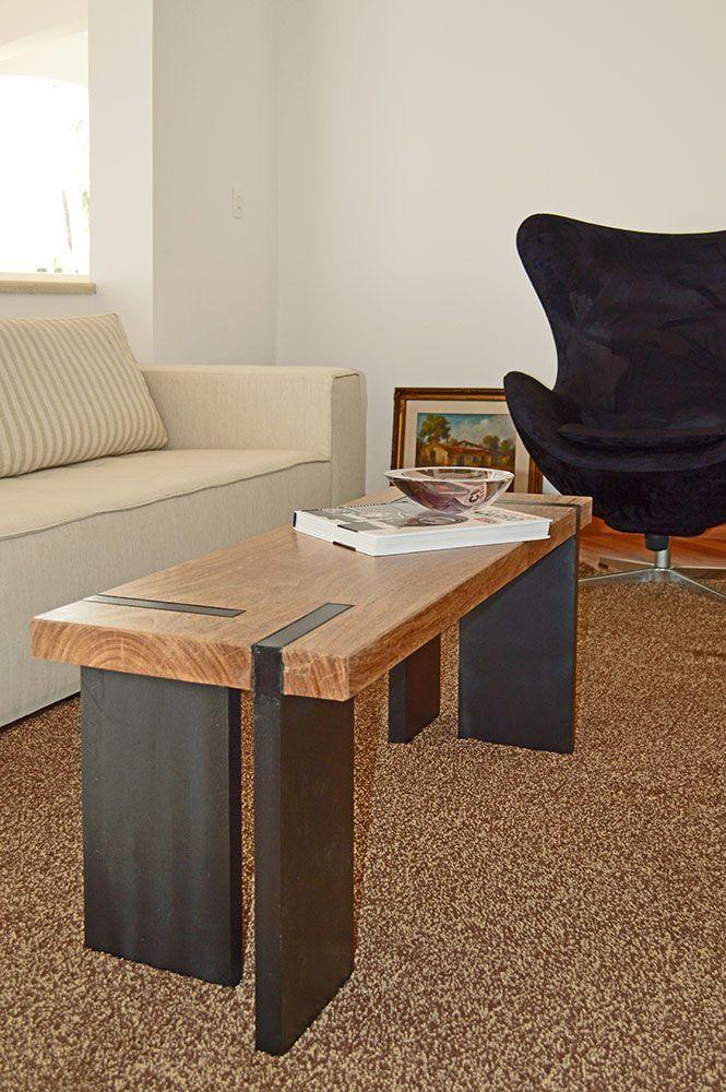 Decoração mesa de centro e banco de madeira u2013 Pam Faccin mesas